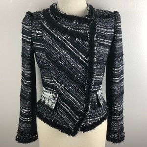 McGinn Jacket Blazer Size 4 Black White Lined